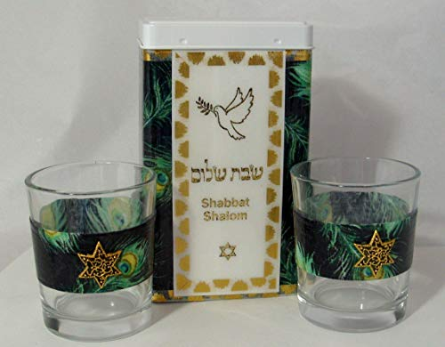 (Shabbat Match Box and Candle Holders - Emerald Peacock Feathers)