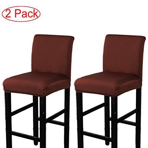 LJNGG 2 Pack Chair Cover Slipcover Counter Stool Covers Dining Room Kitchen Bar Stool Cafe Furniture Chair Seat Cover Stretch Protectors Only Chair Cover(Coffee)