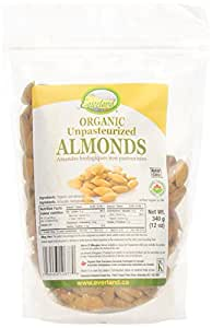 Everland Organic Almonds Raw Unpasteurized, 340gm