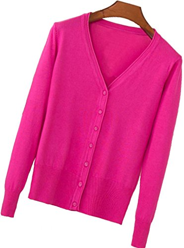 (S.S Womens V-Neck Button Down Long Sleeve Crew Neck Soft Classic Basic Knit Cardigan Sweater (S-6X) (X-Large, Rose Red))