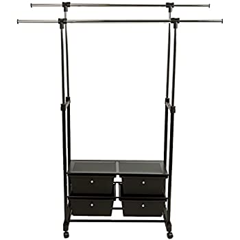 Amazon Com Whitmor Rolling Garment Rack W Drawers Home Amp Kitchen
