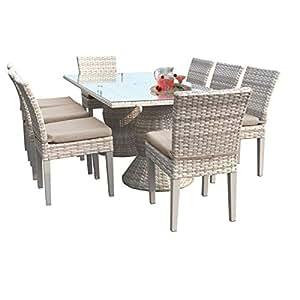 TK Classics fairmont-rectangle-kit-8C-wheat Fairmont & Main rectangular al aire libre Patio mesa de comedor con 8sillas sin reposabrazos con 2fundas: Beige y