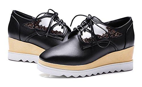 Aisun Womens Fashion Square Toe Platform Medium Heels Lace Up Wedge Sneakers Black 2ygrYo