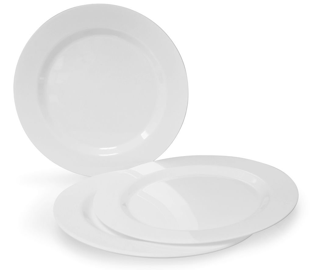 OCCASIONS 120 PACK, Heavyweight Disposable Wedding Party Plastic Plates (10.5'' Dinner Plate, Plain White)