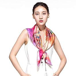 Zxx Silk Scarf, Square Scarf, Silk Shawl, Satin, Satin, Inkjet, Large Square, Modern Shanghai Silk Scarf