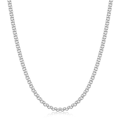 NYC Sterling Solid 925 Sterling Silver 2mm Bismark Chain Necklace Made in Italy (20)