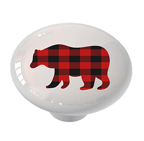 (Walking Grizzly Bear Silhouette Red Plaid Drawer/Cabinet Knob by Gotham Decor)