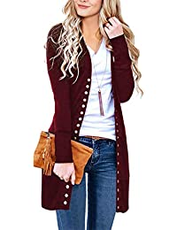 Women's Long Sleeve Snap Button Down Solid Color Knit Ribbed Neckline Cardigans