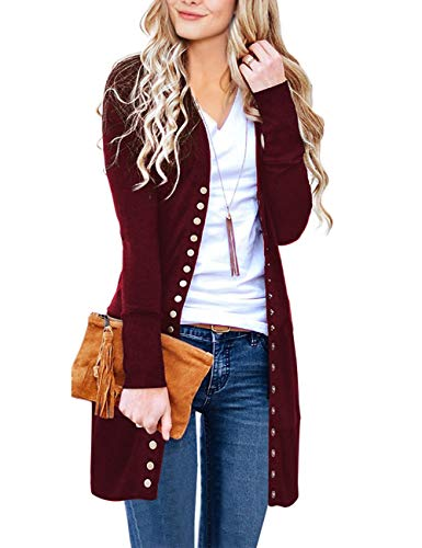 MEROKEETY Women's Long Sleeve Snap Button Down Solid Color Knit Ribbed Neckline Cardigans Wine (Sweater Wine)
