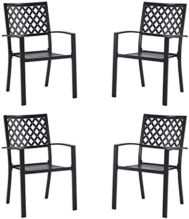 Vicllax Outdoor Metal Bistro Patio Stackable Dining Chairs Set of 4