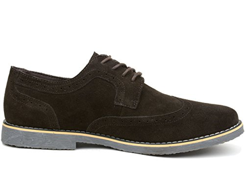 Suede Oxfords Wing Genuine Tip Beau swiss up Shoes Brown Dress alpine Mens Brogue Lace nYUaTxq