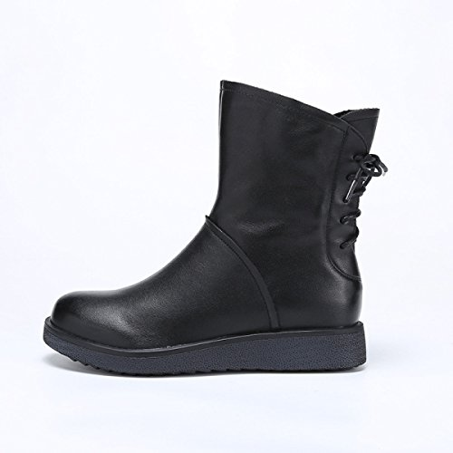 GTYW Fashion Leather Women's Boots Flat Shoes Leather Boots After Straps Motorcycle Boots Winter Cotton Boots Black pivS0