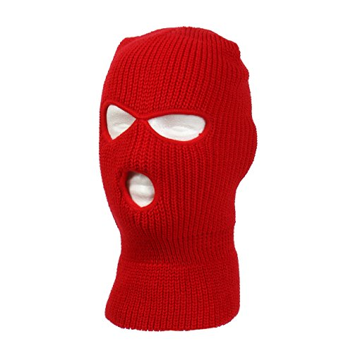 Knitted 3-Hole Ski Mask (Red) (Red Halloween Mask)