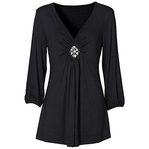 AIMEE7 Femmes Casual Basic Plisse Solide Pliss Col en V Top Diamond T-Shirt Blouse Noir