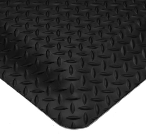 Wearwell PVC 414 UltraSoft Diamond-Plate Heavy Duty Anti-Fatigue Mat, Safety Beveled Edges, for Dry Areas, 3' Width x 5' Length x 15/16'' Thickness, Black by Wearwell Industrial
