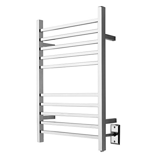 Quality Brand Company QBC Bundled Amba Heated Towel Warmer - Radiant - RSWH-P Square - Hardwired, Polished 24W x 32H - 150 Watts 1.3 Amps - Plus Free QBC Towel Warmer Guide