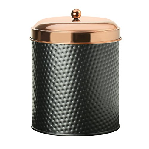 Amici Home, 7CDI033R, Ashby Collection   Hammered   Finish Black Matte Metal Storage Canister, Push Top Copper Tone Lid, Food Safe, 104 Ounces (Extra Large)