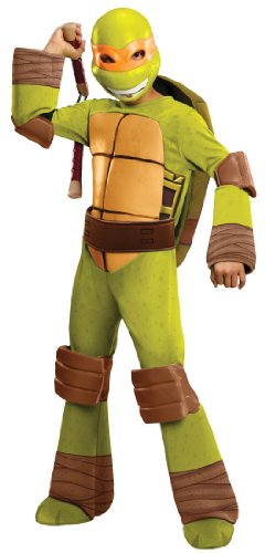 [Teenage Mutant Ninja Turtles Deluxe Michelangelo Costume, Small] (Ninja Turtle Costumes Boys)
