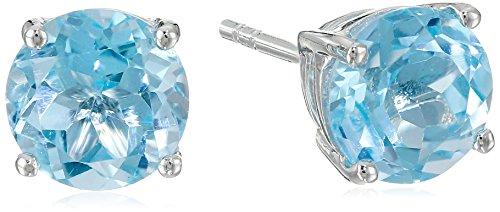 Sterling Silver 7 mm Gemstone Round Stud Earrings,Blue Topaz