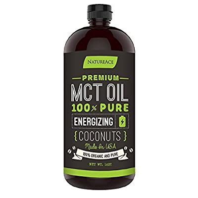 Nature Ace MCT Oil Made From Pure Organic Coconut - Paleo, Gluten and Vegan Friendly Supplement 16oz