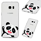 Phone Case for Samsung Galaxy S6 Edge Plus,Soft TPU Silicone Shock Absorption Slim Fit Anti-Scratch Protective Back Cover Happy Panda