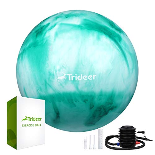 Trideer Exercise Ball (Multiple Color), Yoga Ball, Birthing Ball with Quick Pump, Anti-Burst & Extra Thick, Heavy Duty Ball Chair, Stability Ball Supports 2200lbs (B#Green&White, L (58-65cm))