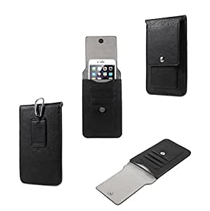 DFV mobile - Belt Case Cover Premium Synthetic Leather Vertical and Card Slots for => LG V10 > Black