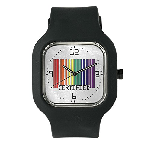 Black Fashion Sport Watch Gay Certified Pride Bar Code by Royal Lion