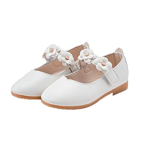 Vokamara Baby Toddler Girls Soft PU Leather Mary Janes Flowers Bow Dress Shoes (5 M US Toddler, X-White) by Vokamara (Image #1)