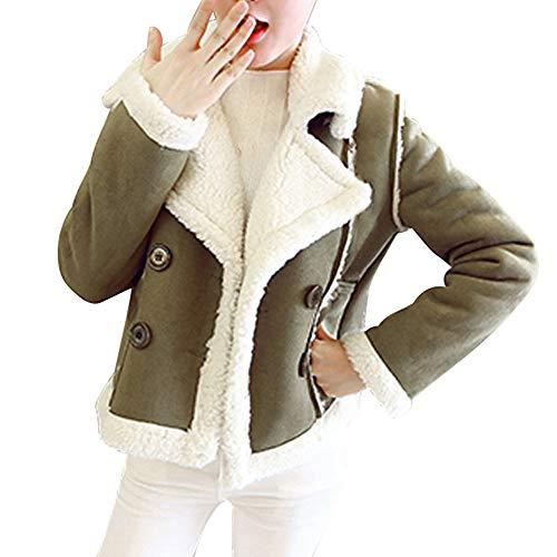 NEARTIME Womens Jacket, Winter Pockets Warm Fleece Velvet Floral Double Breasted Short Coat Green