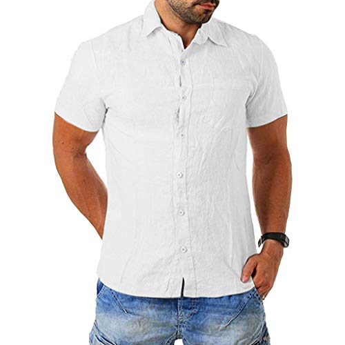 SFE Men's Baggy Cotton Blend Pocket Solid Short Sleeve Turn-Down Collar T Shirts Solid Color with Buttons Casual wear White]()