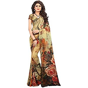 a32c895680 Kalaa Varsha Women's Faux Georgette Digital Print Saree Free Size Multicolor