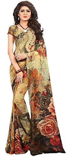 Kalaa Varsha Women's Faux Georgette Digital Print Saree Free Size Multicolor