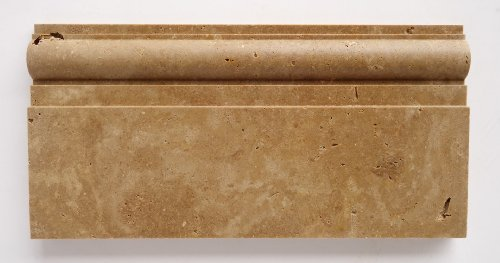 Noce Travertine Honed 6 X 12 Baseboard Trim Molding - STANDARD QUALITY - Lot of 20 Pcs.