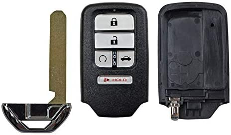 KR5V2X 5 Buttons Honda Keyless Entry Remote Car Key Casing Replacement Key Fob Case with Uncut Blade Fit for 2016 2017 2018 Honda Pilot CR-V Civic
