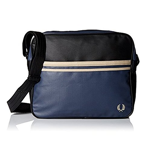 FRED PERRY BORSA A TRACOLLA COATED CANVAS nero   blu SHOULDER BAG PVC  37x29x11 cm UOMO 1ce6989a4b0