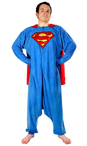 DC Comics Underboss Mens Superman Adult Kigurumi Cosplay Hooded One Size Union Suit Onesie Blue