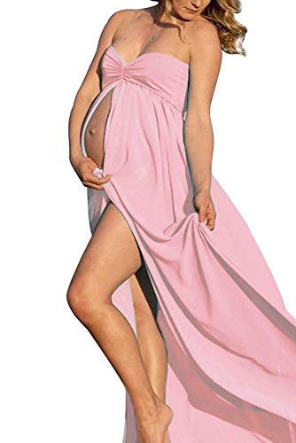 (Maternity Off Shoulder Chiffon Gown Split Front Strapless Maxi Pregnancy Photography Dresses for Photoshoot (D-Candy Pink))