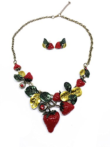 QTMY Cherry Necklace Earrings Set - Cherry Bronze Pendant