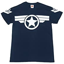 Mens Navy Steve Rogers Super Soldier Captain America Uniform Marvel T Shirt