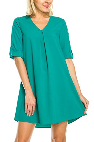 KAYLYN KAYDEN KLKD A175 Women's Solid V Neck Rolled up Cuffed Sleeve Shift Dress Jade X-Large