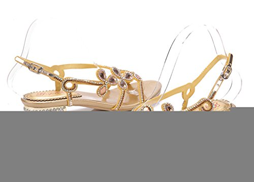CRC Womens Flowers Sweet Casual Microfiber Material Flat Sandals Work Walking Strappy Slippers Gold em982