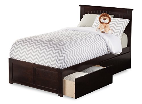 Cottage Twin Bed (Atlantic Furniture Nantucket Bed with Flat Panel Foot Board and 2 Urban Bed Drawers, Twin Extra Long, Espresso)