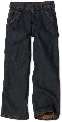 Carhartt Little Boys' Washed Dungaree Flannel Lined, Dark Wash, 5 ()