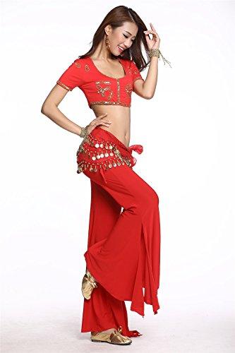 Danza del vientre Disfraz Set Bead bordado Top+Acuñar Falda Pantalones Red