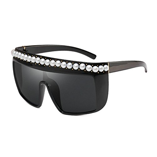 Sexy Designer Sunglasses - MINCL/Vintage Oversized Flat Top Sunglasses Sexy Luxry Brand Designer Sunglasses With Pearl UV400 (black)