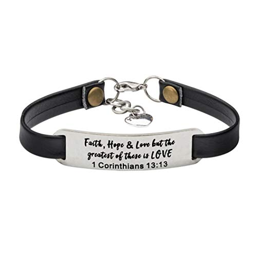 - UNQJRY Religious Gifts for Men Inspirational Christian Jewelry Faith, Hope & Love, but Greatest of These is Love