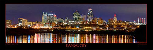 - Kansas City Skyline 2019 PHOTO PRINT UNFRAMED NIGHT 11.75 inches x 36 inches Missouri Photographic Panorama Poster Picture Standard Size