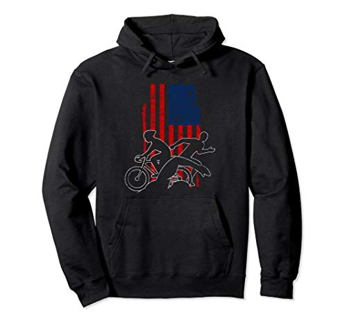 USA Flag Triathlon Hoodie Swim Bike ()
