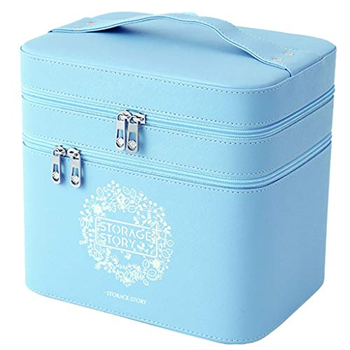 Yike-Storage Box Blue Cosmetic Case Large Capacity Cosmetic Lipstick Portable Large Double Layer